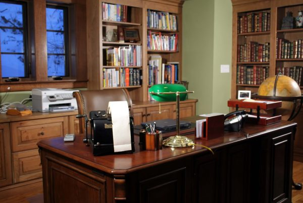 180 Closet Designu0027s For Work Studies At Home With Mahogany Writing Desk,  Leather Chair And