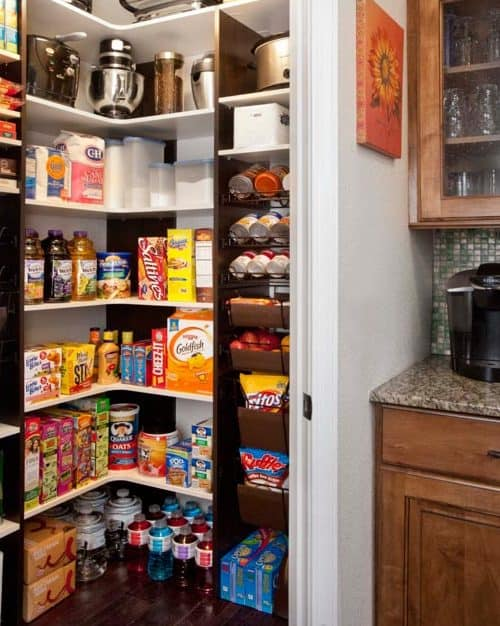 small pantry with corner shelves