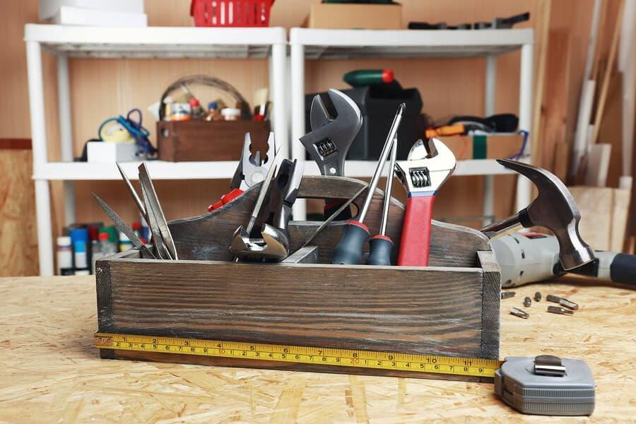 tools in garage closet