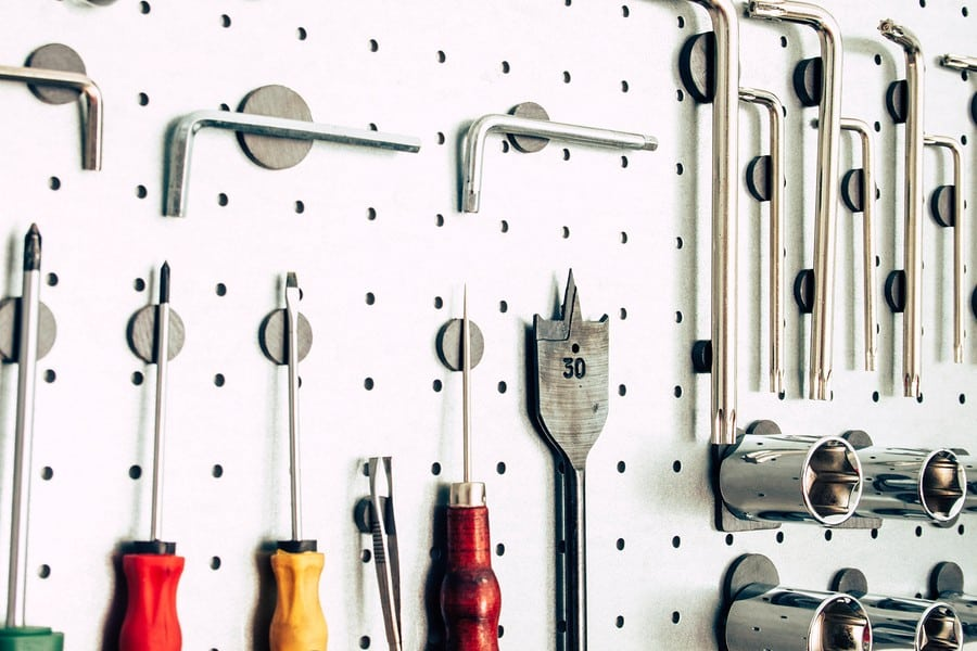 Various tools on garage wall