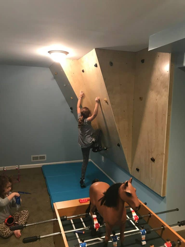 Home rock wall built for kids