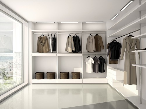 Bright, Comfortable, Modern Walk-in Closet
