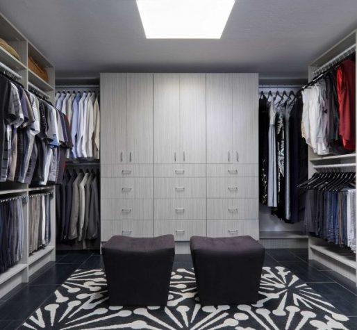 custom cabinets in walk-in closet